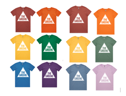 Colourful tee shirts with the greens logo